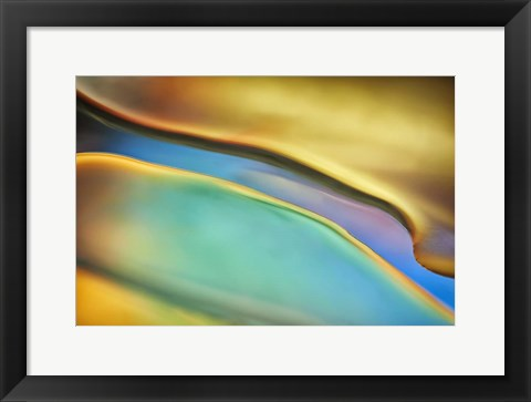 Framed Yellow and Aqua Blue Flow Print