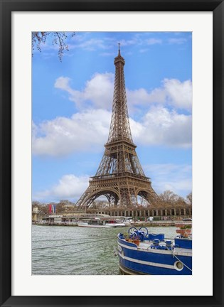 Framed Eiffel Tower and Seine Boat Paris Print