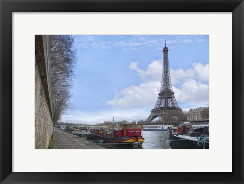 Framed Eiffel Tower and Seine Boats in Paris Print