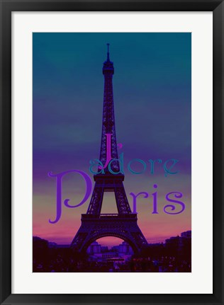 Framed J'adore Paris - Eiffel Tower Print