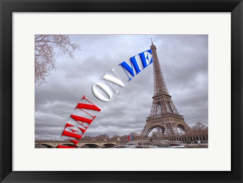 Framed Lean On Me - Eiffel Tower Print