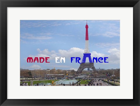 Framed Made en France with Eiffel Tower Print