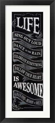 Framed Chalkboard - Life Is Awesome Print