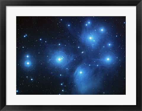 Framed Bright Blue Space Print