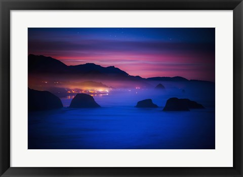 Framed Nighttime Lights in Fog Print