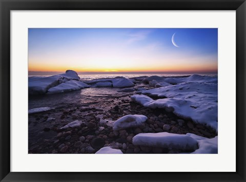 Framed Moon Over Frozen Waters Print