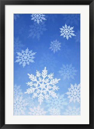 Framed Snowflakes on Blue Print