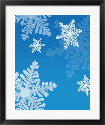 Framed Snowflakes on Blue II Print