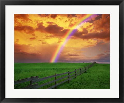 Framed Rainbow Over Green Pastures Print