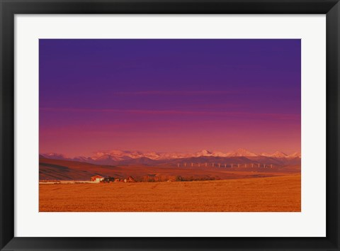 Framed Purple Sky Over the Farm Print