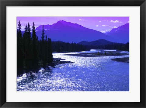 Framed Mountains with Purple Sky Print