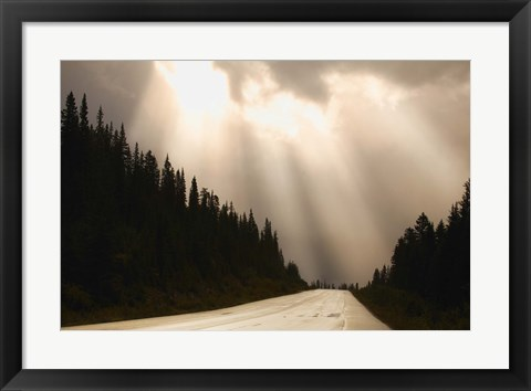 Framed Sun Through the Clouds over Open Road Print