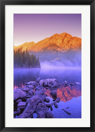 Framed Mountain Reflection, Purple Fog Print
