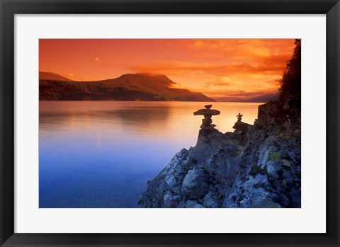 Framed Rock Formations with Red Sky Print