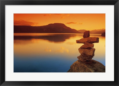 Framed Rock Formation at Waters Edge Print