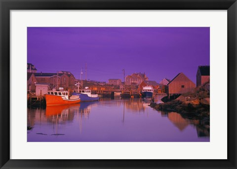 Framed Boats in the Harbor Print