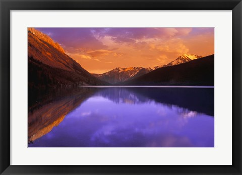 Framed Red Mountains , Purple Water Print
