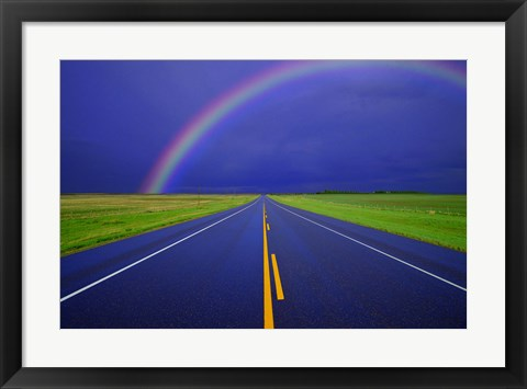 Framed Rainbow Over the Road Print