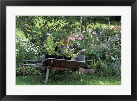 Framed Wheel Barrow with Colorful Blooms Print