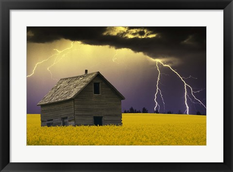Framed Old House with Lightning Print
