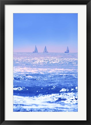 Framed Sailboats in Blue Print