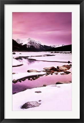 Framed Snow in the Mountains Print
