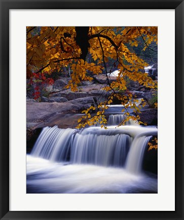 Framed Waterfall Over the Rocks in Fall Print