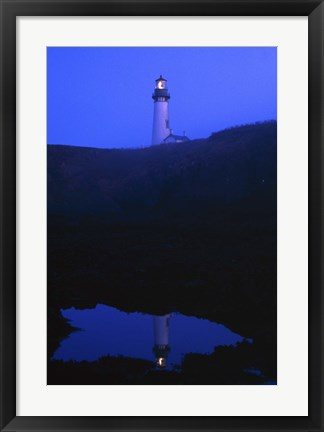 Framed Lighthouse at Night Print