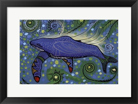 Framed Humpback Swimming with Yellow Bubbles Print