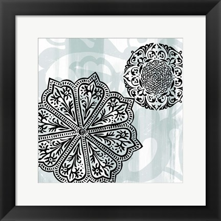 Framed Rosettes on Aqua II Print