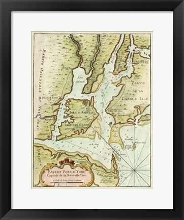 Framed Petite Map of the Port of New York Print