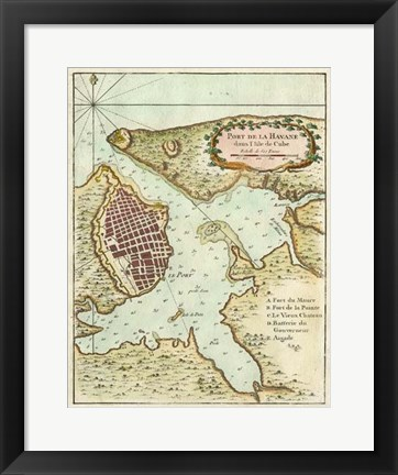 Framed Petite Map of the Port of Havana Print