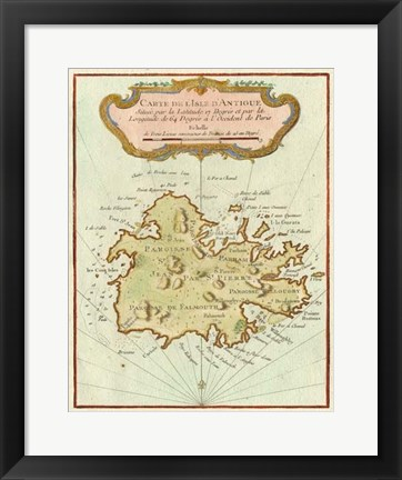 Framed Petite Map of Island of Antigua Print