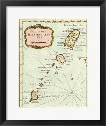 Framed Petite Map of the Antilles Islands II Print