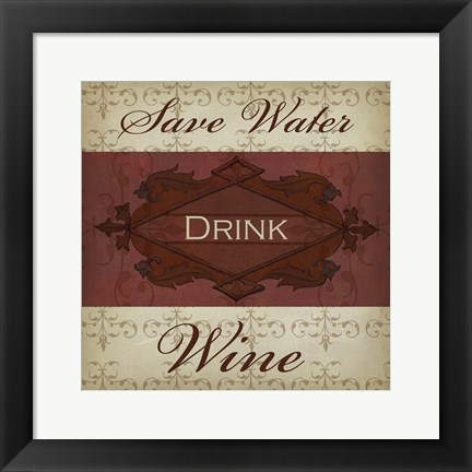 Framed Wine Phrases I Print