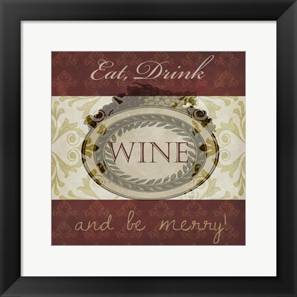 Framed Wine Phrases II Print