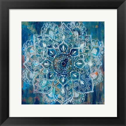 Framed Mandala in Blue II Print