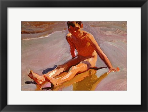 Framed Boy on the Beach Print