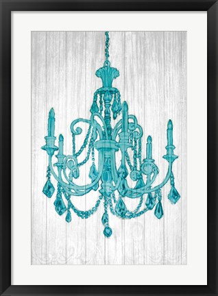 Framed Luxurious Lights III Turquoise Print