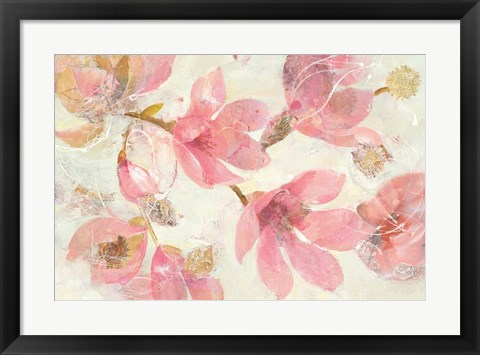 Framed Magnolias in Bloom on White Print