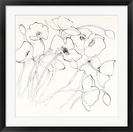 Framed Black Line Poppies II Print