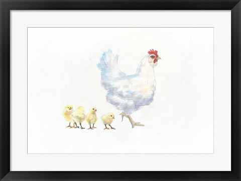 Framed Hen and Chickens Print