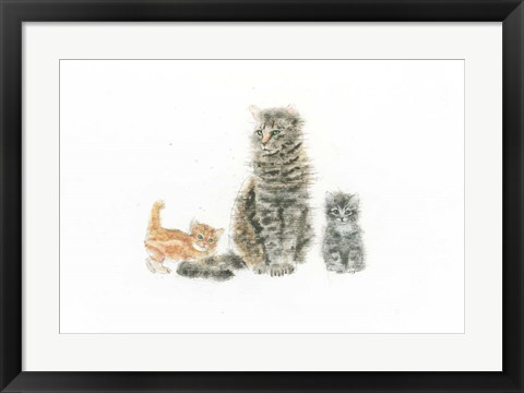 Framed Cat and Kittens Print