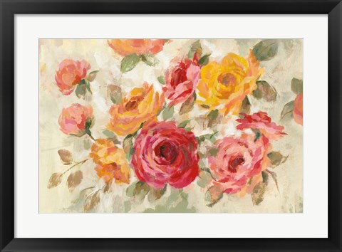 Framed Brushy Roses Print