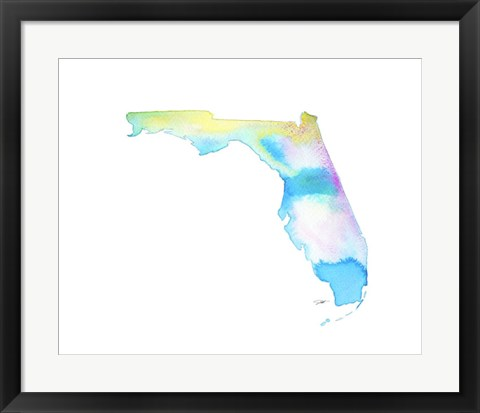 Framed Florida State Watercolor Print