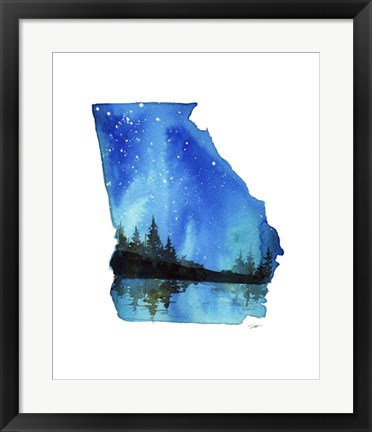 Framed Georgia State Watercolor Print