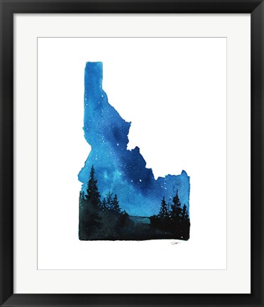 Framed Idaho State Watercolor Print