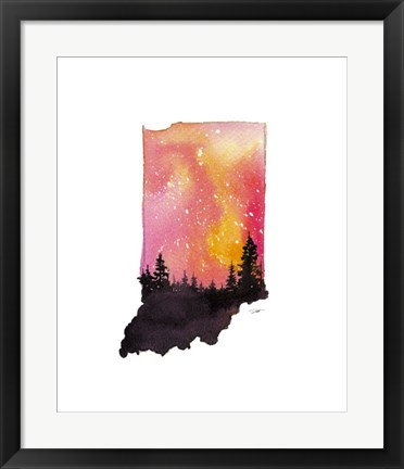 Framed Indiana State Watercolor Print