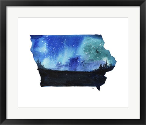 Framed Iowa State Watercolor Print