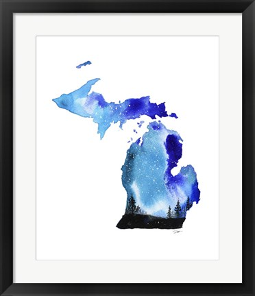 Framed Michigan State Watercolor Print
